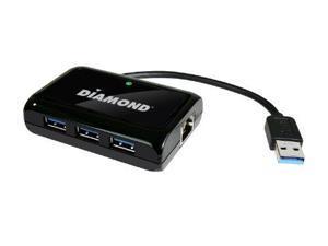 Diamond Multimedia USB303HEB Diamond Multimedia USB303HE 3-Port SuperSpeed USB 3.0 Hub and Mini Docking Station