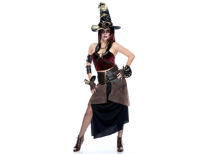 Steampunk Witch Goth Cyber Punk Adult Cosplay Costume