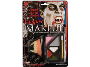 Vampire Dracula Goth Costume Makeup Kit + Fangs Teeth