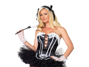 Sexy French Maid Halloween Costume Corset Bustier