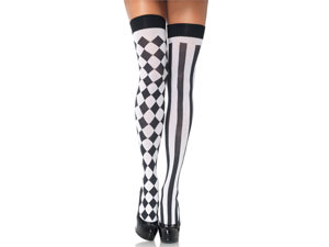 Sexy Harlequin Black White Diamond Stripe Thigh High Stockings