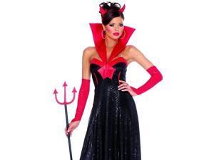 Womens Adult Long Black Devil Dress Halloween Costume