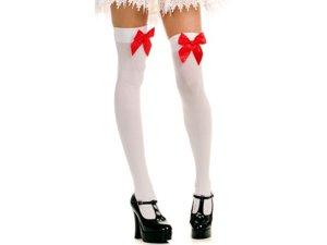 Sexy White Opaque Thigh High Highs Stockings w/ Red Bow
