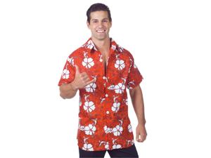 Mens Luau Halloween Costume Red Floral Hawaiian Shirt
