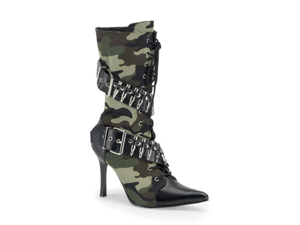 New Army Camo Mid Calf High Heel Military Boots