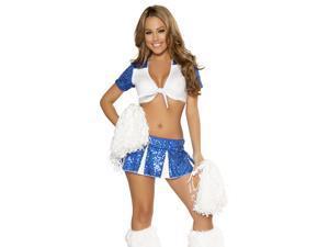 Sexy Womens Blue White Varsity Cheerleader Halloween Costume