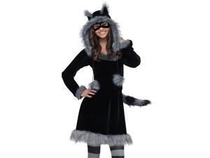 Junior Teen Girls Furry Racoon Animal Halloween Costume