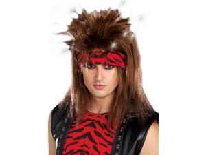 Mens 80s Glam Rock Star Costume Light Up Mullet Wig