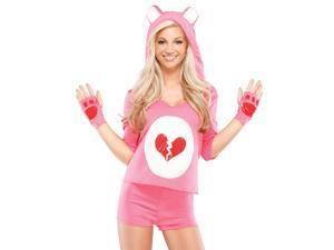 Sexy Cute Womens Pink Care Heart Teddy Bear Halloween Costume