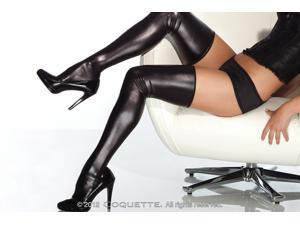 Sexy Black Shiny Wet Look Faux Vinyl Thigh High Stockings