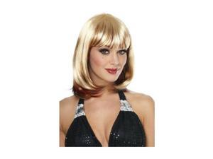 Womens Trendy Shoulder Length Blonde Wig Red Highlights
