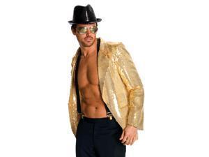 Disco Musical Jazz Rockstar Pimp Costume Gold Sequin Jacket