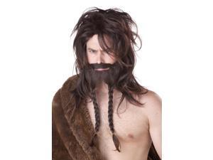 Mens Brown Barbarian Viking Wig Beard Moustache