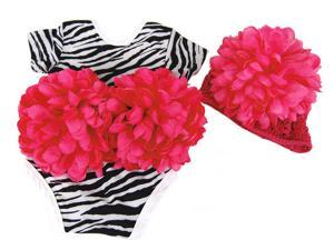 Infant Zebra Stripe Bodysuit Hot Pink Flower Outfit with Hat