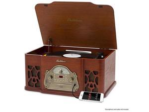 Electrohome Wellington Nostalgia Turntable Real Wood Stereo System with Record Player, USB Recording, MP3, CD & Radio