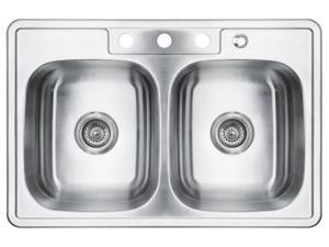 "33""X22"" AKT3322A084 T-304 STAINLESS STEEL TOP MOUNT DROP IN 50/50 DOUBLE BOWL 8"" DEPTH PREMIUM HEAVY GAUGE KITCHEN SINK W/FREE STRAINER"