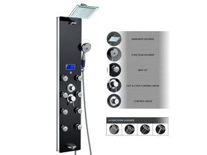 "AKDY 52"" Tempered Glass Aluminum Shower Panel AZ787392B Rain Style Massage System."