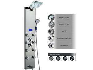 "AKDY 52"" Tempered Glass Aluminum Shower Panel Az787392M Rain Style Massage System"