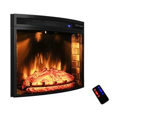 "AKDY AK-NEF06-28R 28"" Black Electric Firebox Fireplace Heater Insert Curve Glass Panel W/Remote"