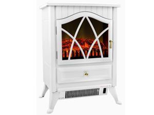 "AKDY 16"" AK-N18D2P-WHT Europe Style Freestanding Modern Electric Fireplace Heater Stove"