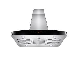 "AKDY® 36"" Stainless Steel Island Mount LED Touch Control Panel Kitchen Range Hood w/ Baffle Filters"