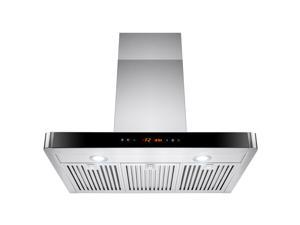 """AKDY® 30"""" Wall Mount Stainless Steel Kitchen Vents Range Hood w/ LED Touch Control Panel Removable Baffle Filters"""