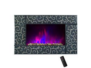 """AKDY 36"""" Tempered Glass Wall Mount 2 Setting Adjustable Touch Screen LED Backlights Electric Fireplace Stove w/ Remote Control"""