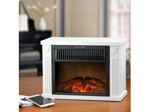"AKDY 13"" Electric Fireplace Tabletop Mini Portable Freestanding Heater Stove 2 Setting Wood Logs"
