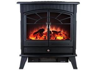 "AKDY 25"" Electric Fireplace Heat Tempered Glass Freestanding Logs Insert Adjustable 5200 BTU 1500W Heater"