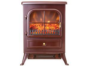 "AKDY 15"" Electric Fireplace Heat Tempered Glass Freestanding Logs Adjustable 5200 BTU 1500W Heater 2 Setting LED Plug N Play"