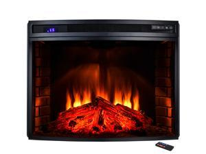 "AKDY 33"" Freestanding Heat Electric Fireplace Heater Temperature Control Remote 6 Setting LED Backlit Tempered Glass Adjustable BTU Log"