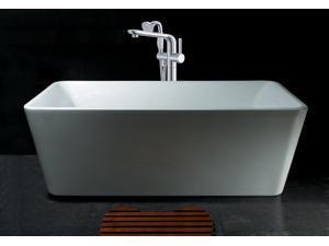 """AKDY 67"""" Acrylic Bathtub Freestanding Bathroom Shower Spa Body Contemporary  Bath Tub Modern Soaking W/ Tub Filler Faucet"""