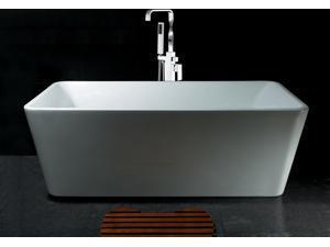 """AKDY 67"""" Acrylic Bathtub Freestanding Bathroom Shower Spa Body Contemporary  Bath Tub Modern Soaking W/ Bathtub Faucet"""