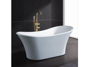 "AKDY 71"" Acrylic Bathtub Freestanding Bathroom Shower Spa Body Contemporary Oval Bath Tub Modern Soaking W/ Tub Filler ..."