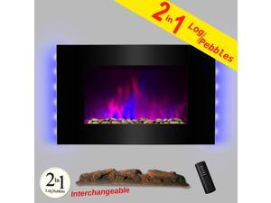 "AKDY 36"" Tempered Glass Electric Fireplace Heat Wall Mount Adjustable 1500W Heater 2 Setting LED Log 2-in-1 Pebbles Interchangeable"