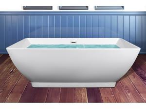 "AKDY 65"" Acrylic Bathtub Freestanding Bathroom Shower Spa Overflow Body Contemporary Square Rectangular Bath Tub Modern Soaking"