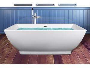 """AKDY 65"""" Acrylic Bathtub Freestanding Bathroom Shower Spa Overflow Body Contemporary Square Rectangular Bath Tub Modern Soaking W/  Freestanding Bathtub Tub Filler"""