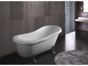 """AKDY 67"""" Modern Luxurious Acrylic Freestanding Bathtub with Curved Edges and Gothic-style Legs in Glossy White"""