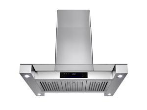 "AKDY 36"" Stainless Steel Island Mount Range Hood Touch Screen Display Light Lamp Baffle Filter Vented Cooking Fan Stove Kitchen Vents LED"