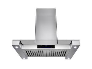 "AKDY 30"" Stainless Steel Island Mount Range Hood Touch Screen Display Light Lamp Baffle Filter Vented Cooking Fan Stove Kitchen Vents LED"