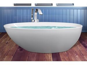 "AKDY 69"" Acrylic Bathtub Freestanding Bathroom Shower Spa Body Contemporary Oval Rounded Bath Tub Modern Soaking W/ Freestanding Bathtub Faucet"