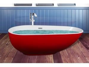 "AKDY 67"" Red White Acrylic Bathtub Freestanding Bathroom Shower Spa Body Contemporary Oval Rounded Bath Tub Modern Soaking w/ Freestanding Bathtub Faucet"