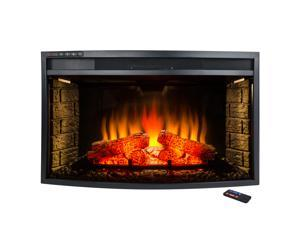 AKDY 33 in. Freestanding Electric Fireplace Insert Heater with Tempered Glass and Remote Control