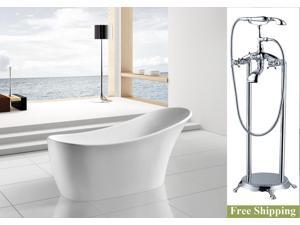"AKDY 63"" AK-NEF278+8713 Europe Style White Acrylic Free Standing Bathtub w/ Faucet"