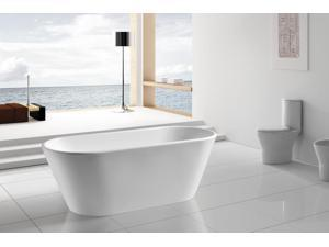 "AKDY 67"" AK-NEF294 Europe Style White Acrylic Free Standing Bathtub"