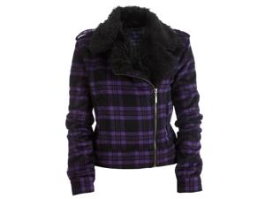 Aeropostale Womens Plaid Faux Fur Collar Field Jacket 500 XS