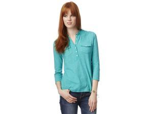 Aeropostale Womens Solid Popover Henley Shirt 110 M