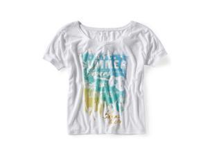 Aeropostale Womens Summerfest Dolman Graphic T-Shirt bleach XS