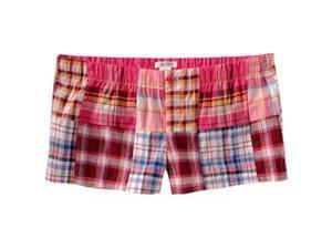 Aeropostale womens elastic band plaid sleep shorts - Petunia Pink - XS