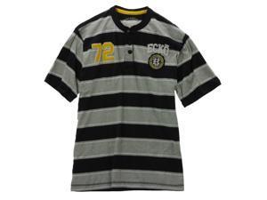 Ecko Unltd. Mens Rugby Stripe #72 Henley Shirt black M
